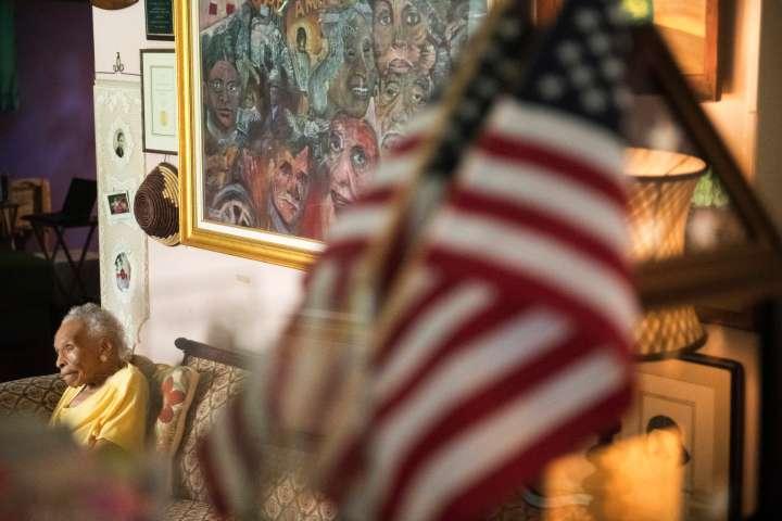 WHITE PLAINS, NY- AUGUST 8: Olivia Hooker, 103, poses for a por