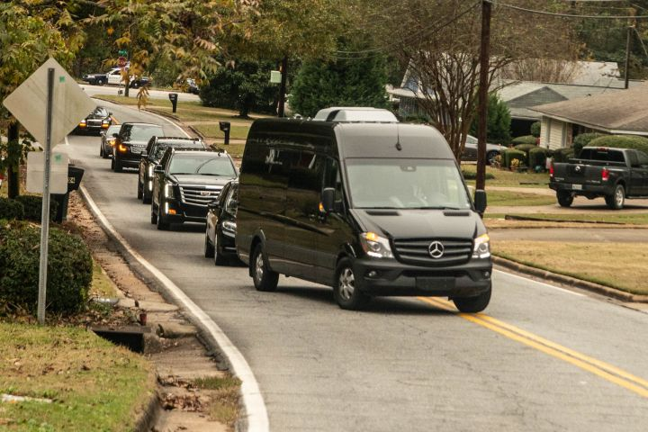 Funeral procession for Diddy's beloved ex Kim Porter arrives at Cascade Hills Church, Columbus, GA.