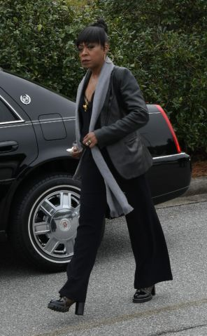 Mourners including Tichina Arnold arrive at the funeral service for Kim Porter at the Cascade Hills Church in Columbus, Georgia