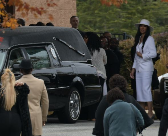 Kimora Lee Simmons arrives at the funeral service for Kim Porter at the Cascade Hills Church in Columbus, Georgia