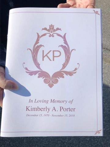 The order of service for the funeral service of Kim Porter at the Cascade Hills Church in Columbus, Georgia