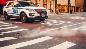 NYPD car on Fifth Avenue in midtown Manhattan