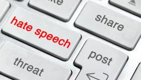 Hate Speech on keyboard