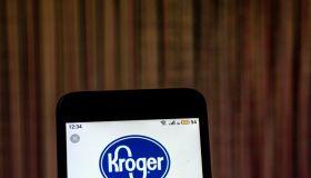 Kroger Retail company logo seen displayed on smart phone...