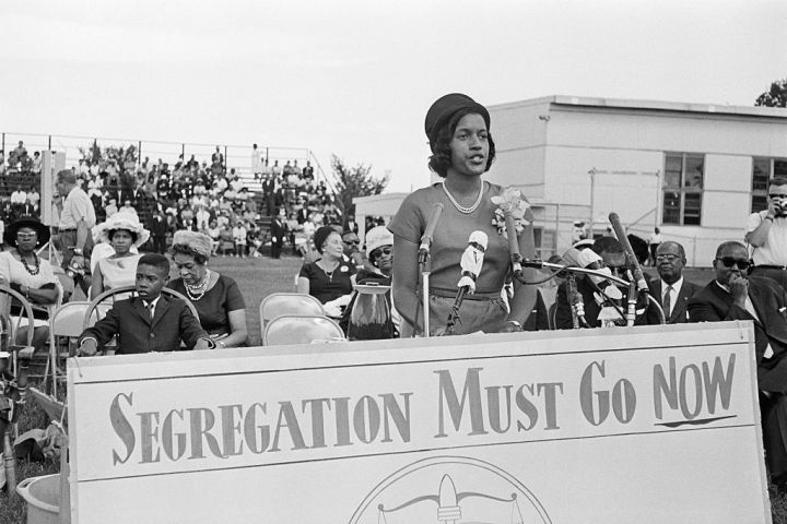 Myrlie Evers Speaking at Microphone
