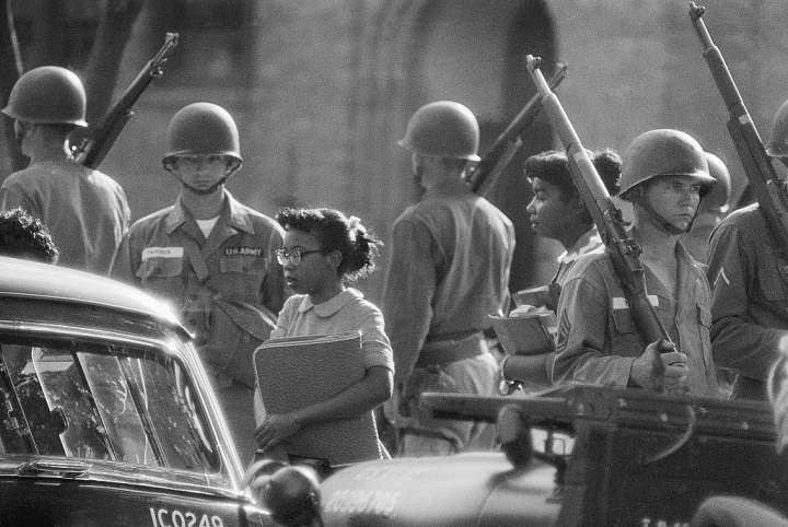 Troops Watch as Black Students Go to School