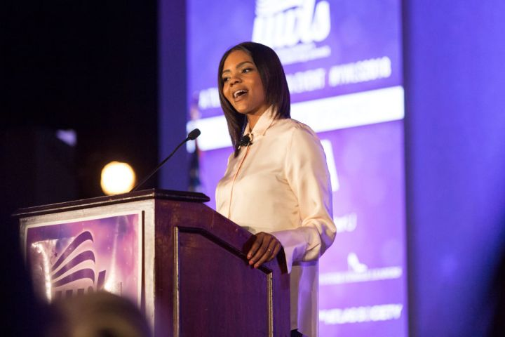 Conservative commentator, Candace Owens, speaks at the Turning