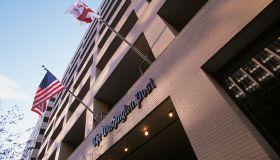 Flags Wavering Outside The Washington Post Building