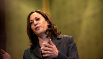 Democratic Presidential Candidate Sen. Kamala Harris Attends Asian and Latino Coalition Discussion At Iowa Capitol Statehouse