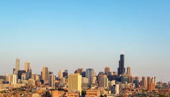 Cityscape Against Clear Blue Sky