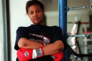 Boxer Freeda Foreman, daughter of former heaveyweight champion George Foreman, poses for a portrait at America Presents Gym in Denver.
