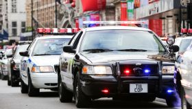 New York Police Department cars are seen during the parade.