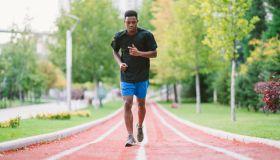 Runner running at running track