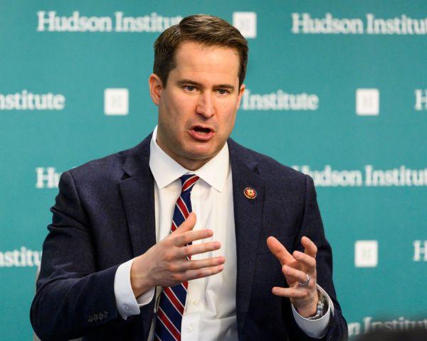 U.S. Representative Seth Moulton (D-MA) seen speaking at the...