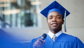 male valedictorian speaking at graduation