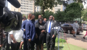 Pamela Turner's family with Ben Crump