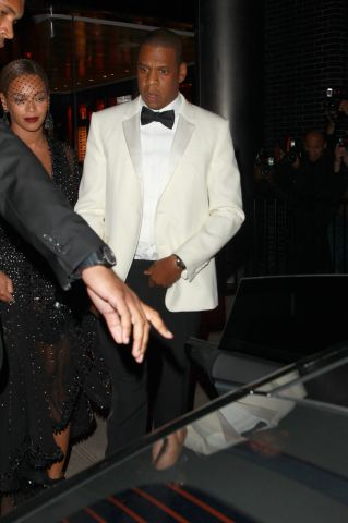 Solange walks in front of sister Beyonce and Jay-Z after having a fight with Jay-Z inside of the elevator. After attending a MET Costume Gala.