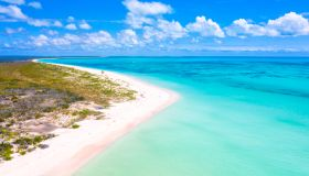 Aerial view of Pink Sand Beach, Caribbean