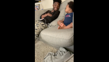 viral video of father speaking with baby son