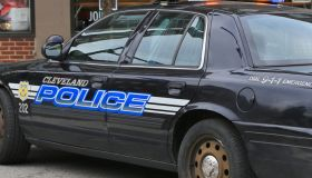 Close-up of a Cleveland police vehicle with flashing lights