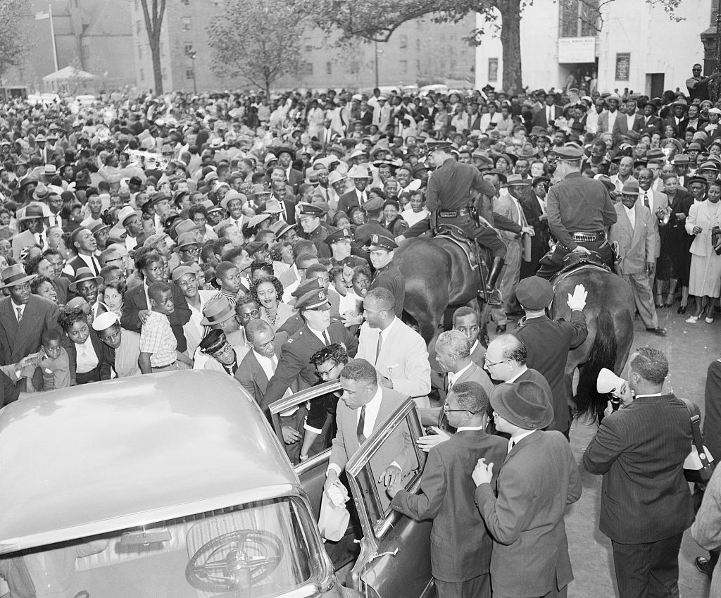 Large Crowd Surrounding Car with Mamie Bradley