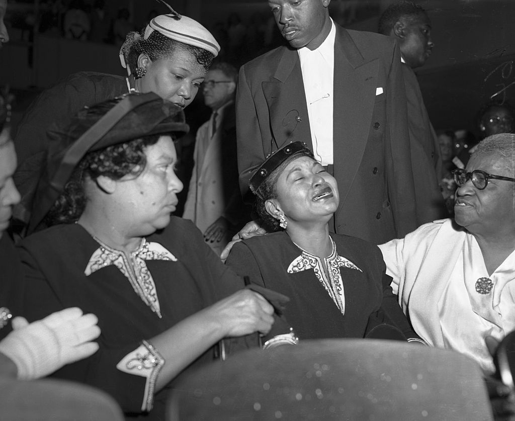 Mamie Bradley Crying at Funeral