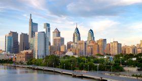 Philadelphia Skyline and Schuylkill River Boardwalk