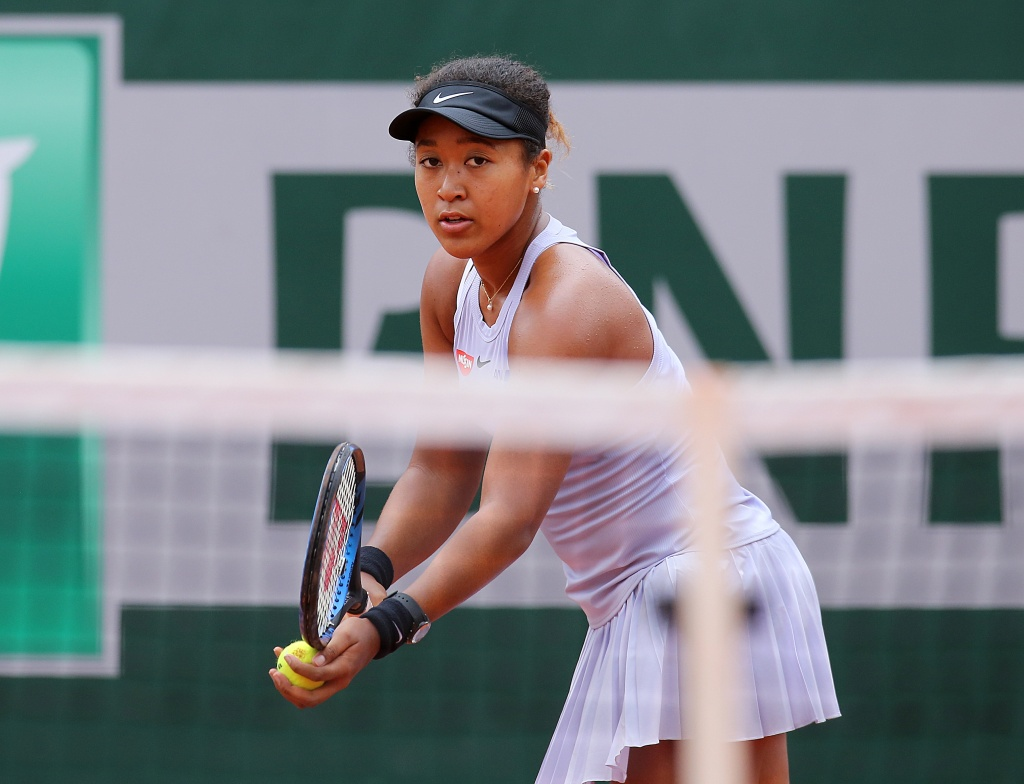 Naomi Osaka of Japan during Day five of the 2019 French Open at Roland Garros