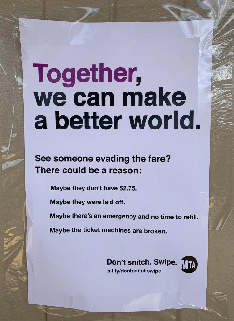 MTA fare evasion flyer