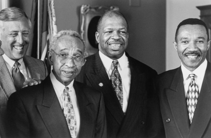 """Md. Delegations, Reps. Steny Hoyer, Parren Mitchell, Elijah Cummings and Kweisi Mfume pose for a photo""""n"""