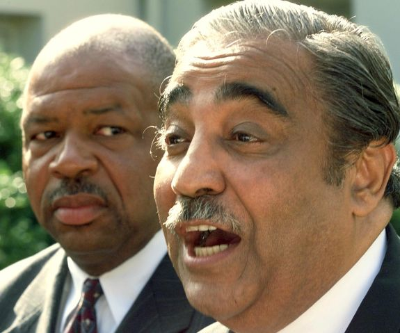 US Rep. Elijah Cummings, (D-MD), and US Rep. Charl WASHINGTON, : US Rep. Elijah Cummings, (D-MD), and US Rep. Charles Rangel, (D-NY), (R), speak with reporters just outside the West Wing of the White House early 12 September after meeting with US President