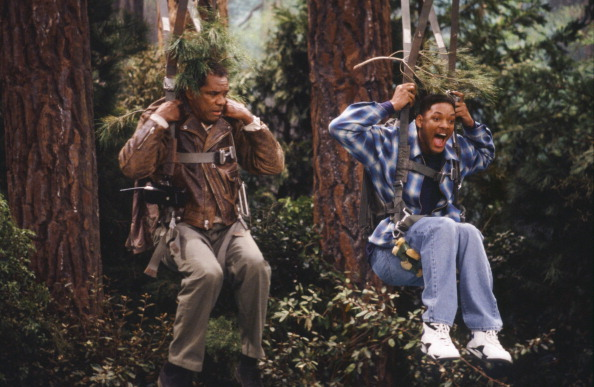 """Fresh Prince of Bel-Air, The FRESH PRINCE OF BEL-AIR, THE -- """"The Harder They Fall"""" Episode 21 -- Pictured: (l-r) John Witherspoon as Augustus Adams, Will Smith as William 'Will' Smith (Photo by Joseph Del Valle/NBCU Photo Bank/NBCUniversal via Getty Image"""