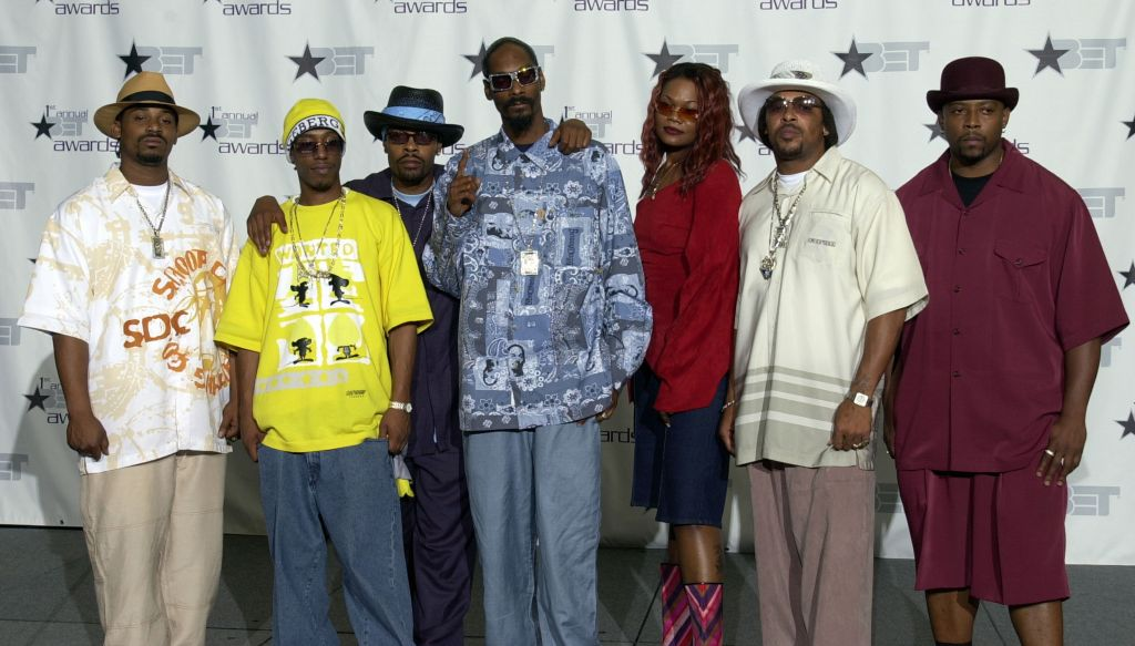 1st BET Awards - Press Room Dogg House Artists pose during the 1st Annual BET Awards June 19, 2001 at the Paris Hotel and Casino in Las Vegas, Nevada. From left to right, Goldie, Bad Azz, Supafly, Snoop, Big Chan (Doggie's Angels), Tre D and Nate Dogg (Pho