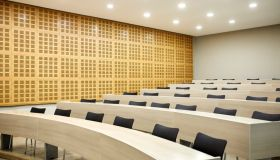 Interior of empty illuminated lecture hall