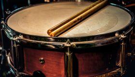 Close-Up Of Sticks On Drum