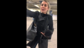 racist white woman in subway attacking people