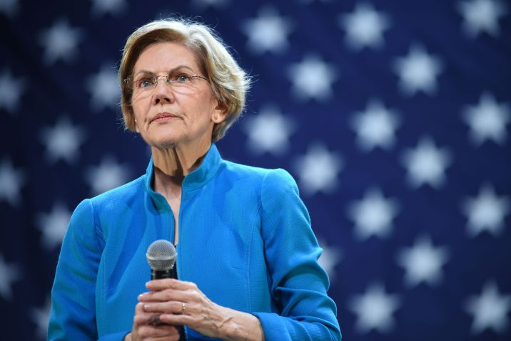 Elizabeth Warren at a public appearance...