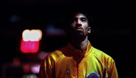 022738.SP.0115.lakers7.WS Lakers guard Kobe Bryant during the National Anthem at the Staples Center