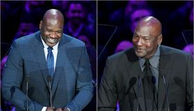 Shaquille O'Neal and Michael Jordan at Kobe Bryant's memorial