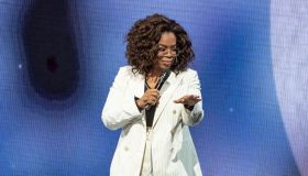 Oprah falls on stage at Oprah's 2020 Vision: Your Life In Focus Tour With Special Guest Jennifer Lopez in Los Angeles Feb. 29, 2020