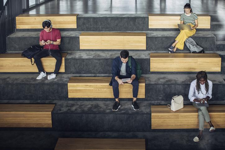 University Students Using Technology to Study Separately