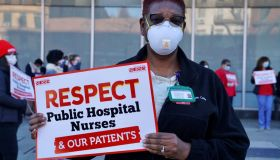Protest At Harlem Hospital Over Working Conditions Amid Coronavirus Outbreak