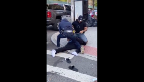NYPD social distancing brutality video screenshot