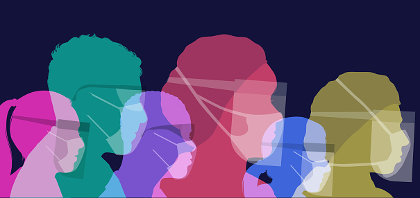 Colourful silhouettes of Medical professionals wearing protective face masks against infection, PPE, coronavirus,