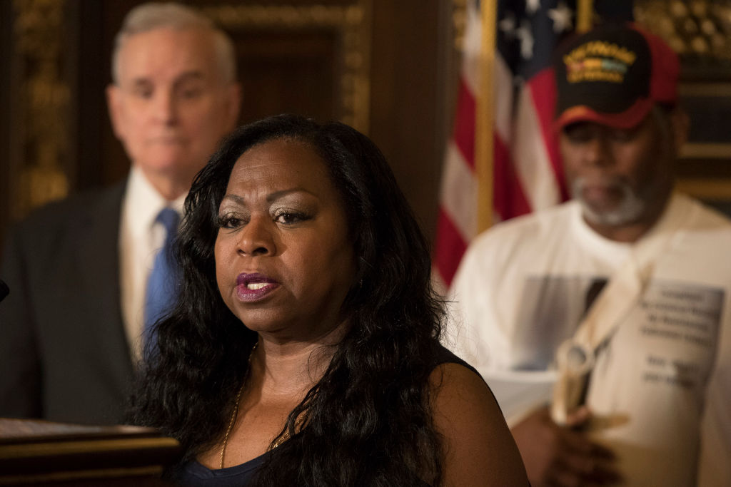 "Valerie Castile, mother of Philando Castile spoke during the news conference one year after her son was killed. Governor Mark Dayton announced that a $12 million funding for the ""Philando Castile Law Enforcement Training Fund"" one year after Castile was k"