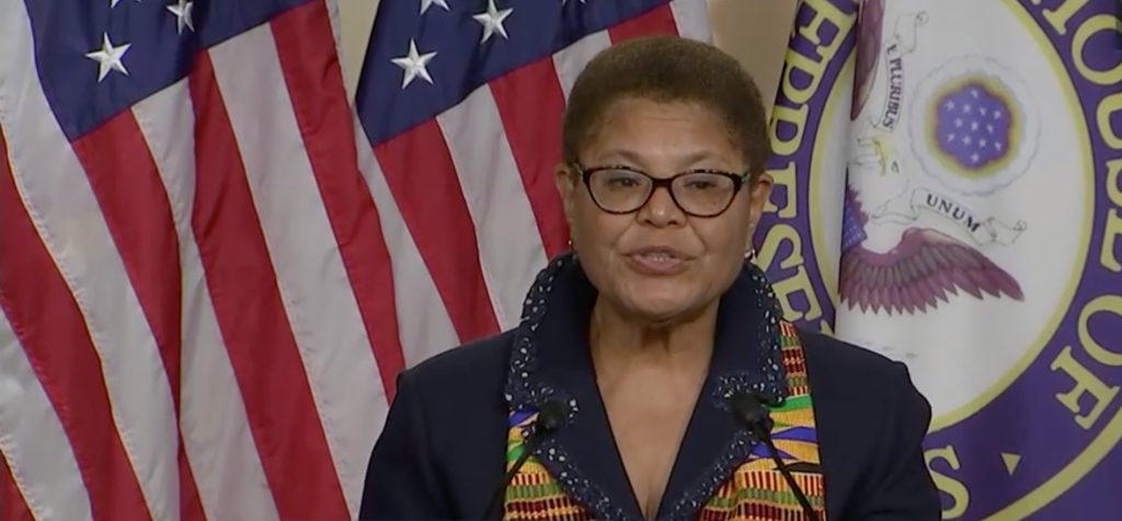Karen Bass announcing Justice in Policing Act of 2020
