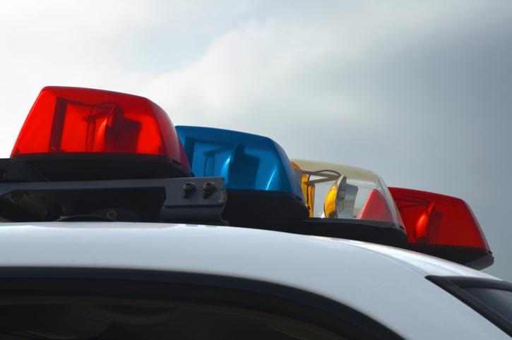 Police Car Lights Close-up