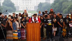 WASHINGTON, DC - JUNE 23: The Rev. William Barber speaks to th
