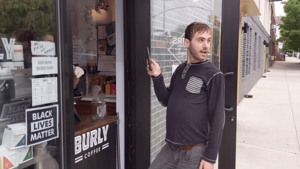 Bed Stuy coffee shop BLM protest viral video