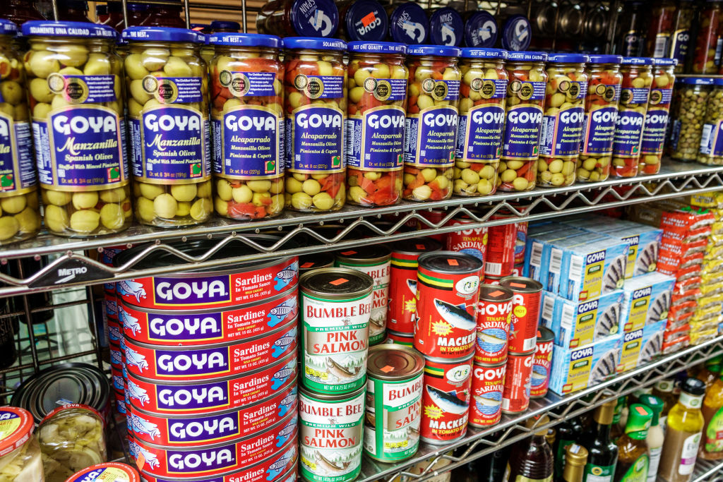 Florida, Miami, La Playa market, olives and canned seafood display